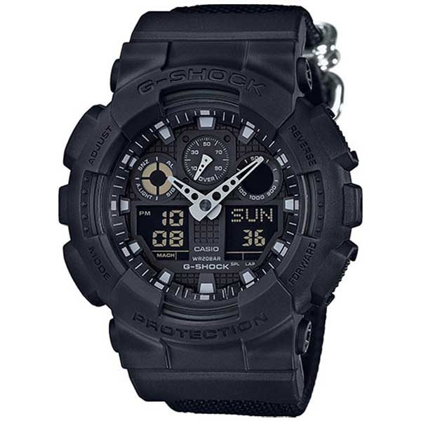 Casio G-Shock GA-100BBN-1AER Basic Black Nato horloge